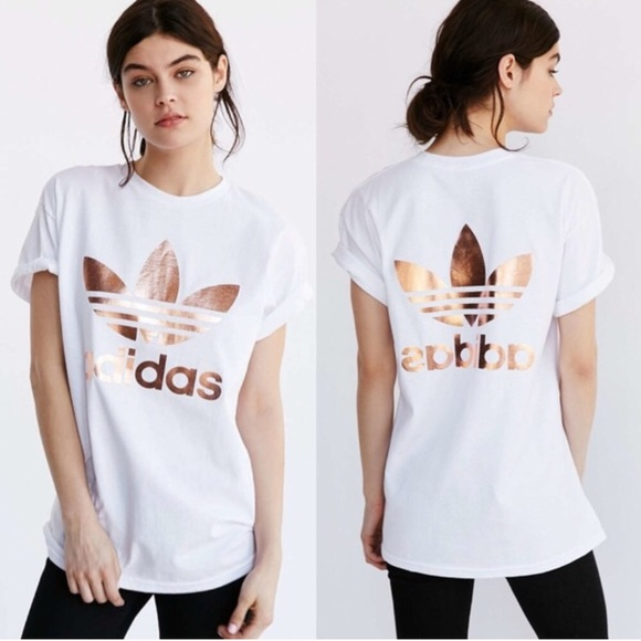 adidas double logo rose gold tee